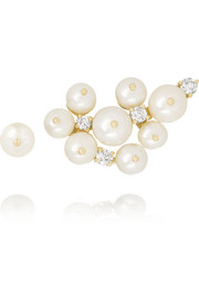 Holly Dyment 14-karat gold, pearl and diamond earrings