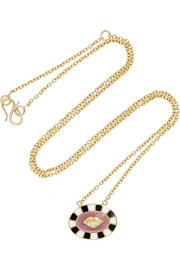 Lip 18-karat gold, enamel and diamond necklace