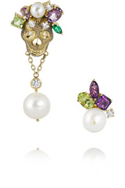 Holly Dyment Skull 18-karat gold multi-stone earrings