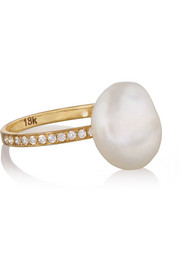 18-karat gold, diamond and pearl ring