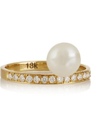 Halleh 18-karat gold, diamond and pearl phalanx ring