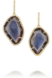 18-karat gold diamond and geode earrings