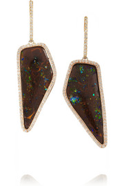 Kimberly McDonald 18-karat rose gold, diamond and Yowah Nut opal earrings