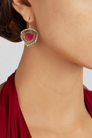 Kimberly McDonald 18-karat rose gold, tourmaline and diamond earrings