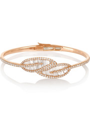 Leaf 18-karat rose gold diamond bracelet