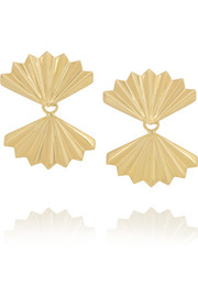 Fan 18-karat gold earrings