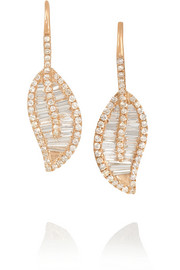 Leaf 18-karat rose gold diamond earrings