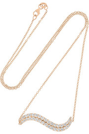 Wave 18-karat rose gold diamond necklace