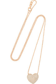 Heart 18-karat rose gold diamond necklace