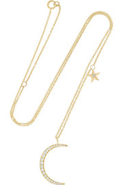 Moon and Star 18-karat gold diamond necklace