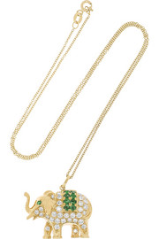 Elephant 18-karat gold, diamond and emerald necklace