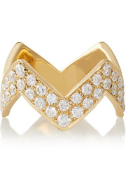 Zig Zag 18-karat gold diamond ring