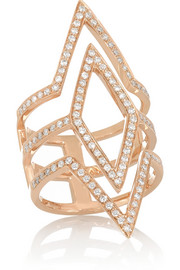 Tri-Point 18-karat rose gold diamond ring