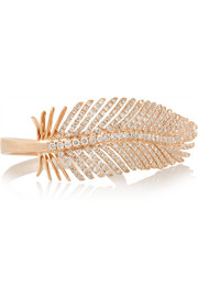 Feather 18-karat rose gold diamond ring