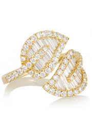 Large Leaf 18-karat gold diamond ring