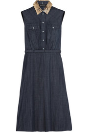 Python-trimmed denim dress