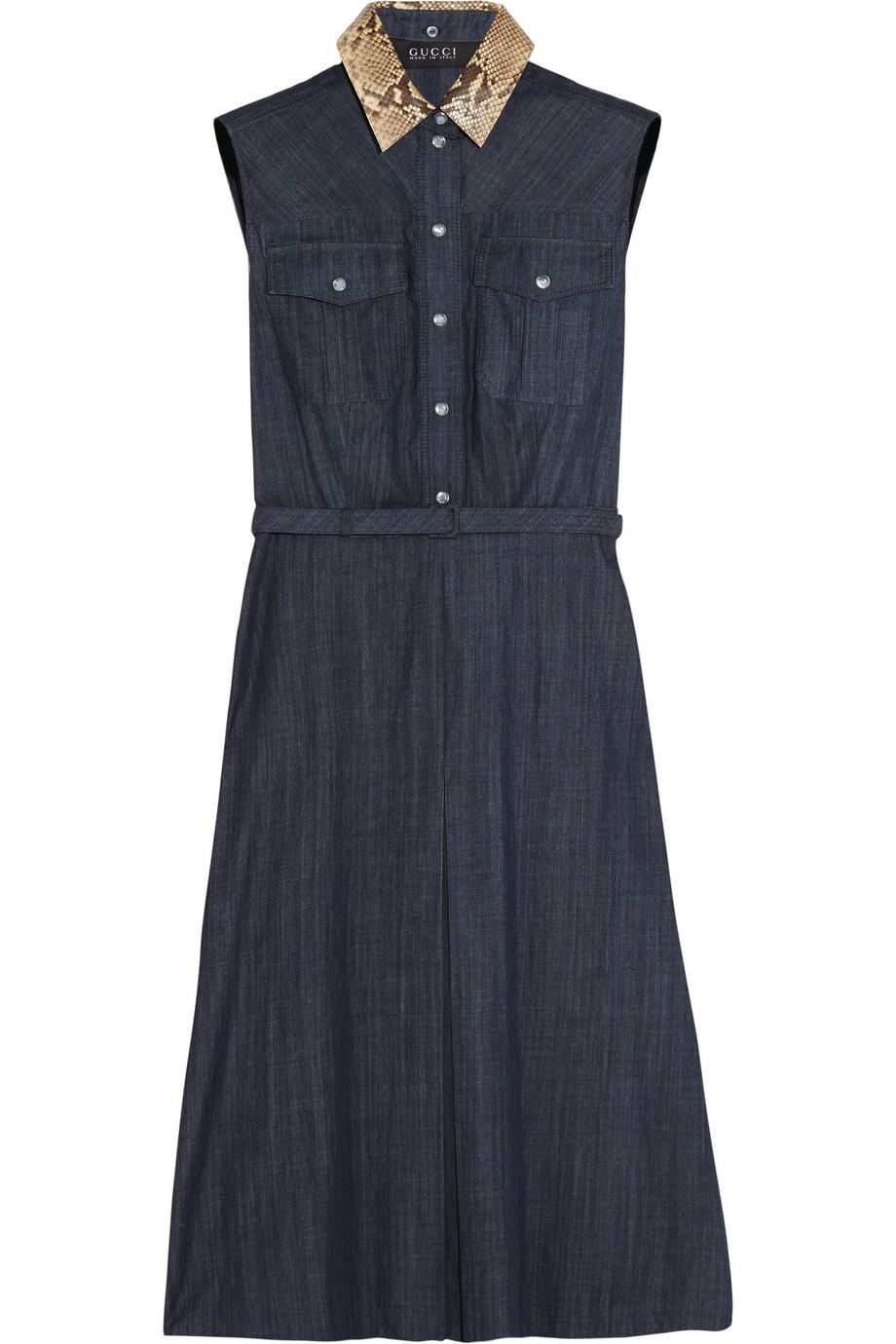 Gucci Python-Trimmed Denim Dress, Size: 36