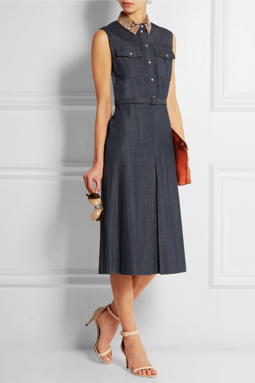 Gucci Python-trimmed denim dress