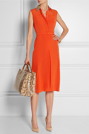 Gucci Python-trimmed silk crepe de chine dress