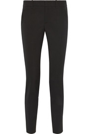 Satin-trimmed stretch wool-blend skinny pants