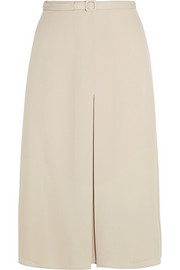 Pleated silk-crepe skirt