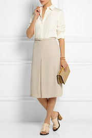 Gucci Pleated silk-crepe skirt