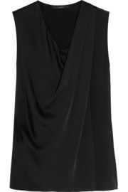 Draped brushed-satin and crepe top