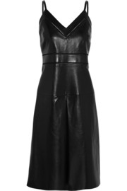 Pointelle-trimmed leather dress