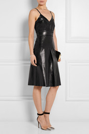 Gucci Pointelle-trimmed leather dress