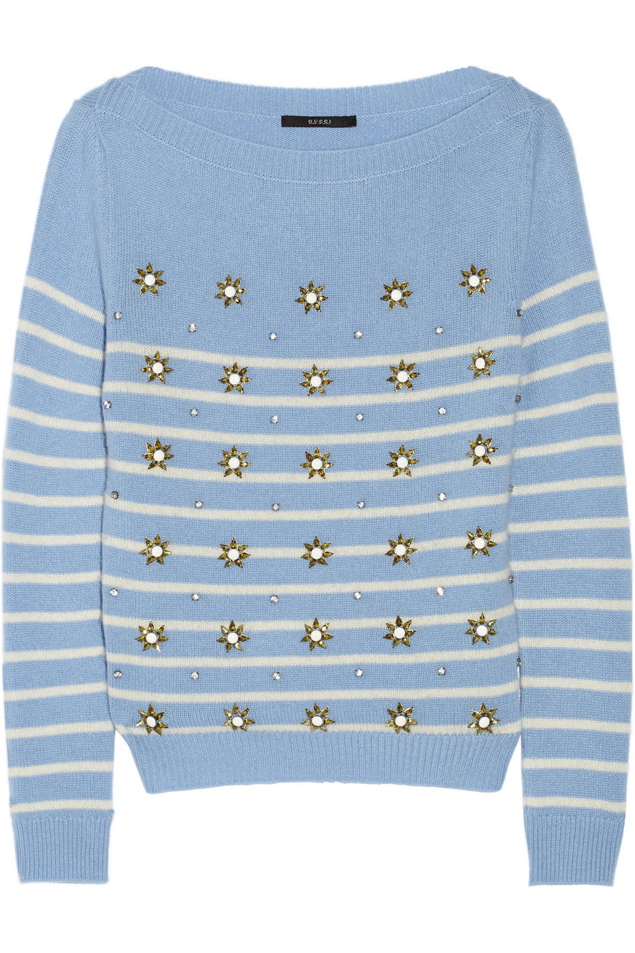 Gucci Embellished Striped Cashmere Sweater, Size: XL