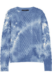 Tie-dyed cable-knit wool sweater