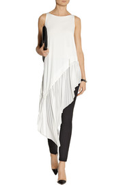 Donna Karan Asymmetric pleated jersey tunic