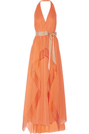 Draped stretch-silk chiffon gown