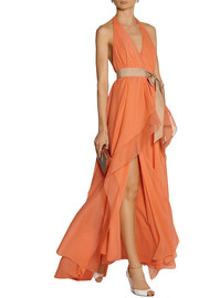 Donna Karan Draped stretch-silk chiffon gown