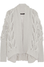 Draped cable-knit cashmere cardigan