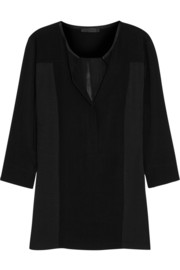 Donna Karan New York Jersey-paneled crepe top