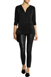 Jersey-paneled crepe top
