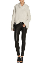 Donna Karan Chunky-knit cashmere and silk-blend turtleneck sweater