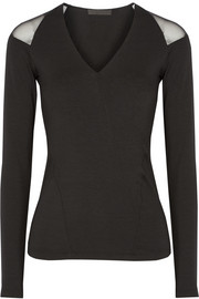 Donna Karan New York Mesh-paneled stretch-jersey top