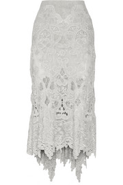 Donna Karan New York Asymmetric macramé lace skirt