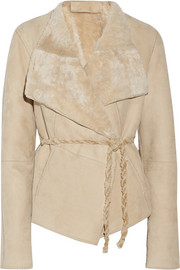 Donna Karan Belted shearling jacket