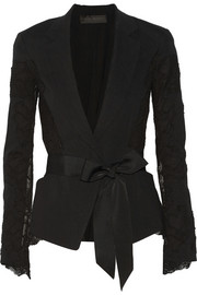 Donna Karan New York Belted lace and linen-blend blazer
