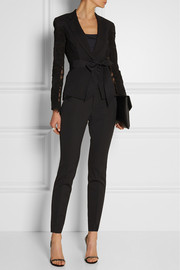 Donna Karan Belted lace and linen-blend blazer