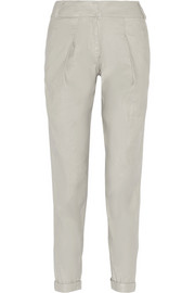 Stretch linen-blend tapered pants