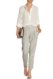 Donna Karan Stretch linen-blend tapered pants