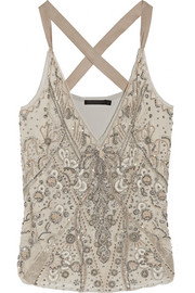 Donna Karan New York Embellished silk-organza and jersey top