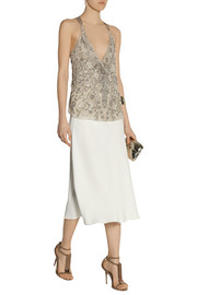 Donna Karan Embellished silk-organza and jersey top