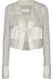 Cropped satin and stretch-twill jacket