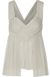 Donna Karan New York Pleated stretch-silk chiffon top
