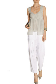 Donna Karan Pleated stretch-silk chiffon top